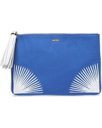 Melissa Odabash - Woman Tasselled Embroidered Canvas Pouch Blue - Lyst