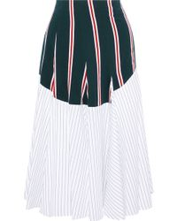 TOME - Woman Godet Panelled Striped Cotton-poplin Midi Skirt White - Lyst