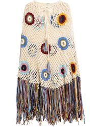 Talitha - Fringed Crocheted Cotton Poncho - Lyst
