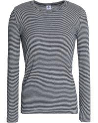 Petit Bateau - Striped Cotton-jersey T-shirt Midnight Blue - Lyst