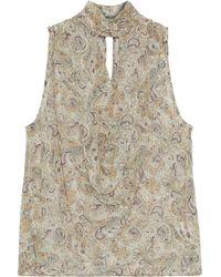Haute Hippie - Cutout Draped Printed Silk-chiffon Top - Lyst