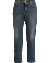 Acne Studios - Cropped Faded High-rise Straight-leg Jeans Dark Denim - Lyst