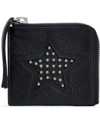 McQ - Woman Studded Pebbled-leather Coin Purse Black - Lyst