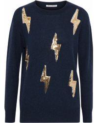 Autumn Cashmere - Sequin-embellished Cashmere Jumper Midnight Blue - Lyst