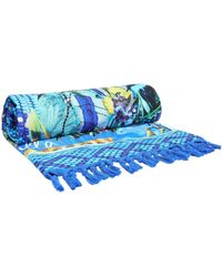 Camilla Printed Cotton-terry Beach Towel Blue