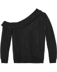 IRO - One-shoulder Ruffled Open-knit Cotton-blend Sweater - Lyst