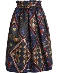 Stella Jean - Pleated Printed Gabardine Skirt - Lyst