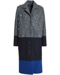 Mother Of Pearl - Embellished Color-block Wool-blend Coat - Lyst