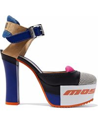 Moschino - Color-block Mesh, Suede And Leather Platform Pumps - Lyst