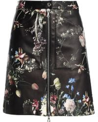 Adam Lippes - Floral-print Leather Mini Skirt - Lyst