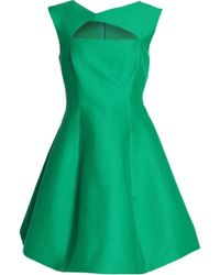 Halston - Cutout Cotton And Silk-blend Mini Dress - Lyst