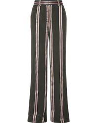 Adam Lippes - Striped Satin-trimmed Twill Wide-leg Trousers - Lyst