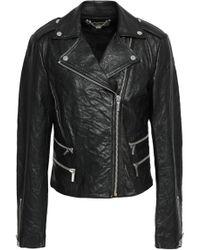 MICHAEL Michael Kors - Crushed-leather Biker Jacket - Lyst
