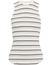 FRAME - Striped Ribbed-knit Top - Lyst