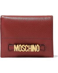 Moschino - Woman Embellished Textured-leather Wallet Brick - Lyst
