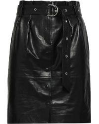 a944c391770e Lyst - IRO Ruffled Leather Wrap-effect Mini Skirt in Black