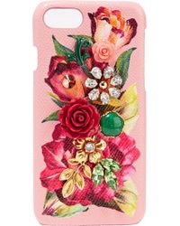 Dolce & Gabbana - Woman Embellished Floral-print Textured-leather Iphone 7 Case Baby Pink - Lyst