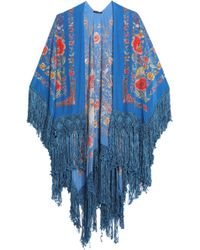 Roberto Cavalli - Fringe-trimmed Floral-print Silk Wrap - Lyst