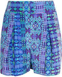 Matthew Williamson - Printed Silk Crepe De Chine Shorts Cobalt Blue - Lyst