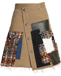 Sonia Rykiel - Asymmetric Patchwork Denim, Faux Leather And Bouclé-tweed Skirt - Lyst