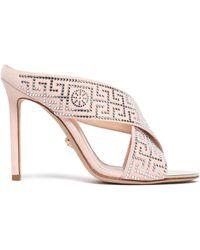 Versace - Crystal-embellished Suede Sandals - Lyst