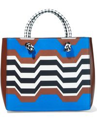 Missoni - Woman Printed Leather Tote Brown Size -- - Lyst