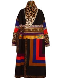 Etro - Leopard-print Calf Hair-paneled Embroidered Wooll-blend Coat - Lyst