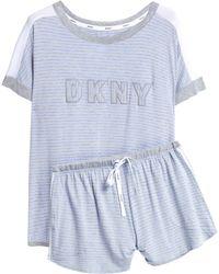 DKNY - Embroidered Printed Jersey Pyjama Set - Lyst