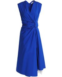 Vionnet - Crossover Gathered Cotton-blend Midi Dress - Lyst