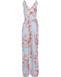 Lela Rose - Bow-detailed Printed Twill Jumpsuit - Lyst