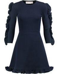 Victoria, Victoria Beckham - Ruffle-trimmed Ribbed Stretch-knit Mini Dress - Lyst