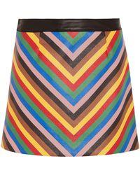 Sara Battaglia - Striped Leather Mini Skirt - Lyst
