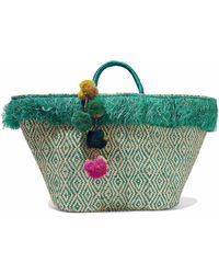 Kayu - Pompom-embellished Fringed Woven Straw Tote - Lyst