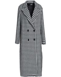 Love Moschino - Double-breasted Houndstooth Tweed Coat - Lyst