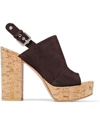 Gianvito Rossi - Marcy Suede And Cork Platform Sandals - Lyst