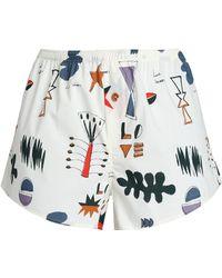 Love Stories - Printed Cotton-poplin Pyjama Shorts - Lyst