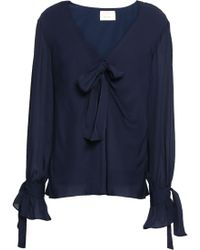 Cinq À Sept Bow-detailed Silk-chiffon Blouse Navy - Blue