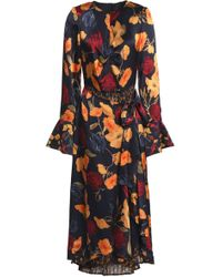 Mother Of Pearl - Woman Elodie Layered Floral-print Silk-satin And Crepe De Chine Midi Dress Midnight Blue - Lyst
