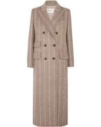 Max Mara - Pinstriped Wool Coat - Lyst