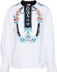 Temperley London - Peacock Lace-up Embroidered Cotton Top - Lyst
