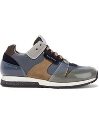 Acne Studios Joriko Suede And Pvc-paneled Woven Sneakers Dark Gray