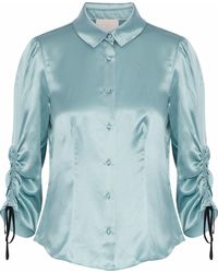 Cinq À Sept - Jolene Ruched Silk-satin Shirt - Lyst