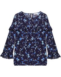 Claudie Pierlot - Ruffle-trimmed Printed Georgette And Crepe Blouse - Lyst