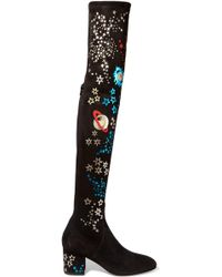 Valentino | Metallic Leather-appliquéd Stretch-suede Over-the-knee Boots | Lyst