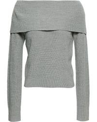 Zimmermann Off-the-shoulder Ribbed Wool-blend Jumper Grey
