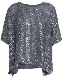 Velvet By Graham & Spencer - Woman Sequined Woven Top Anthracite - Lyst