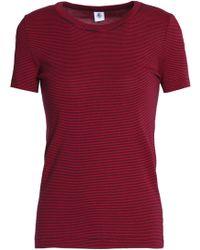 Petit Bateau - Woman Striped Cotton-jersey T-shirt Crimson - Lyst