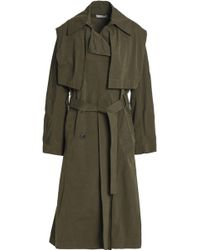 Vince - Woman Double-breasted Woven Trench Coat Army Green - Lyst