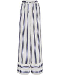 Sacai - Striped Voile Wide-leg Pants - Lyst