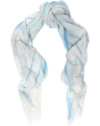 Maje - Elvire Printed Cotton-gauze Scarf Light Blue - Lyst